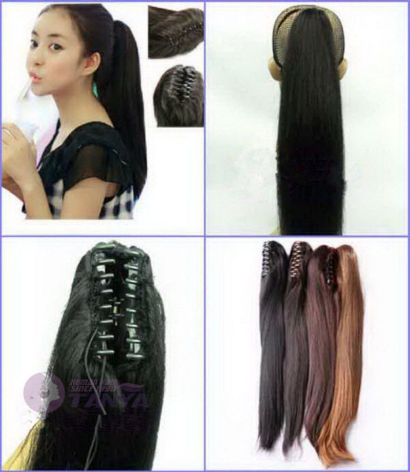 16 95g Silky Straight Jaw Claw Clip Ponytail Human Hair Extensions