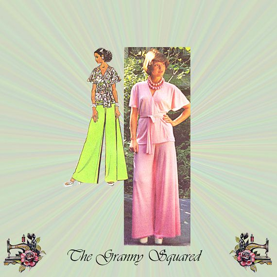 1970s Front Wrap Top and Wide Leg Pants by TheGrannySquared