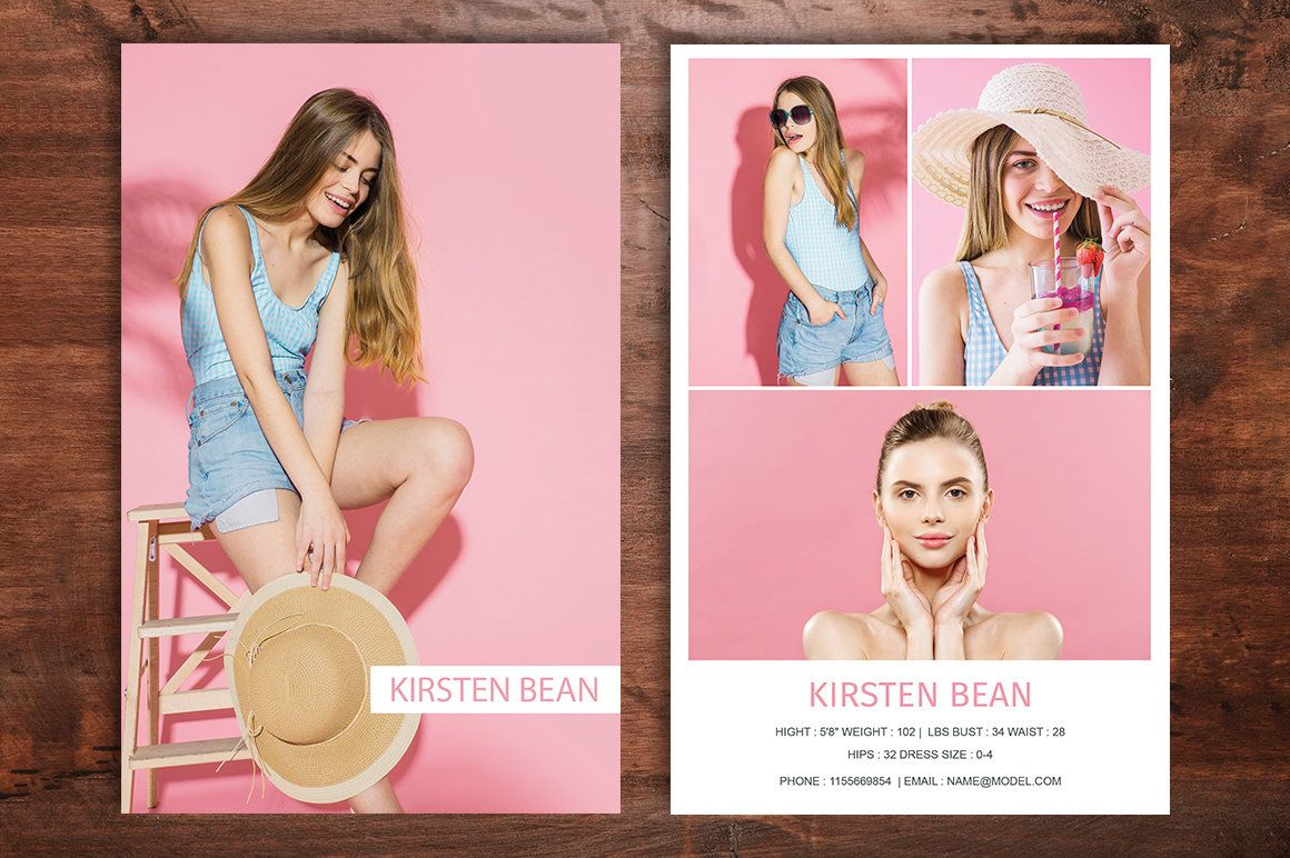 Modeling Comp Card Template Fashion Model Comp Card Ms Word Etsy In 2021 Model Comp Card Photoshop For Photographers Card Template