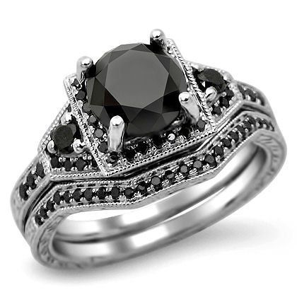 black diamond engagement rings fancy black diamond engagement wedding band set - Black Diamond Wedding Ring Set