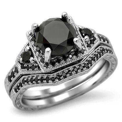 black diamond engagement rings fancy black diamond engagement wedding band set - Black Diamond Wedding Ring