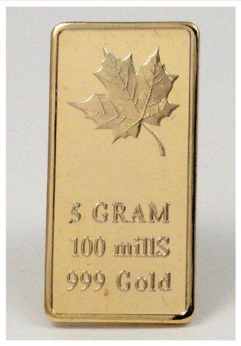 1 5 Gram 24k 100 Mills Gold Clad Ingot Maple Leaf Bar Design World Treasures Mint Ingot Gold Bar Design