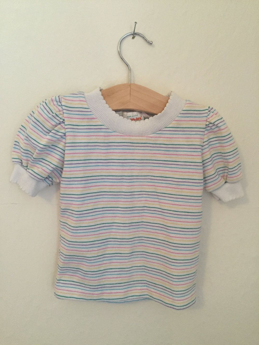 1053f06a5 Vintage Toddler / Baby 80s Health-tex Rainbow Striped Shirt, size 18 months  by…