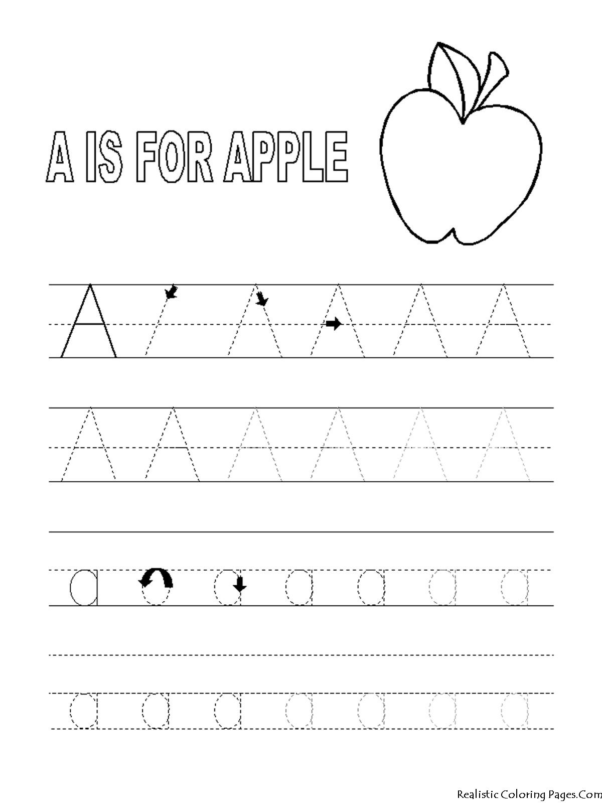 Alphabet Tracer Pages A For Apple Coloring Pages Pinterest