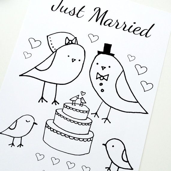 Wedding Coloring Page Just Married Love Birds by