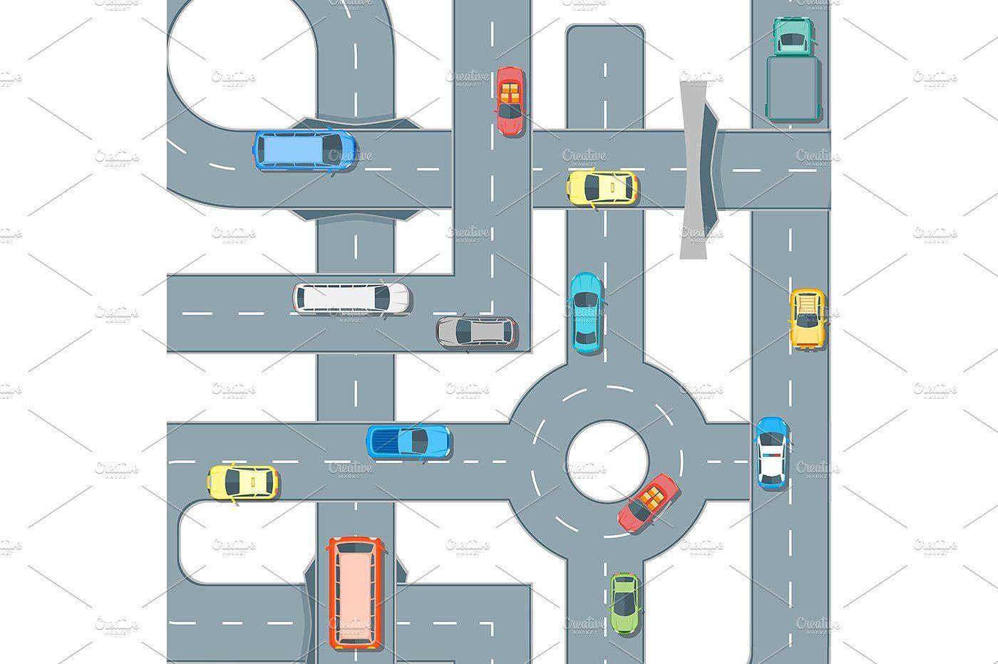 Road Element Set. Vector illustrationDearPartsVector