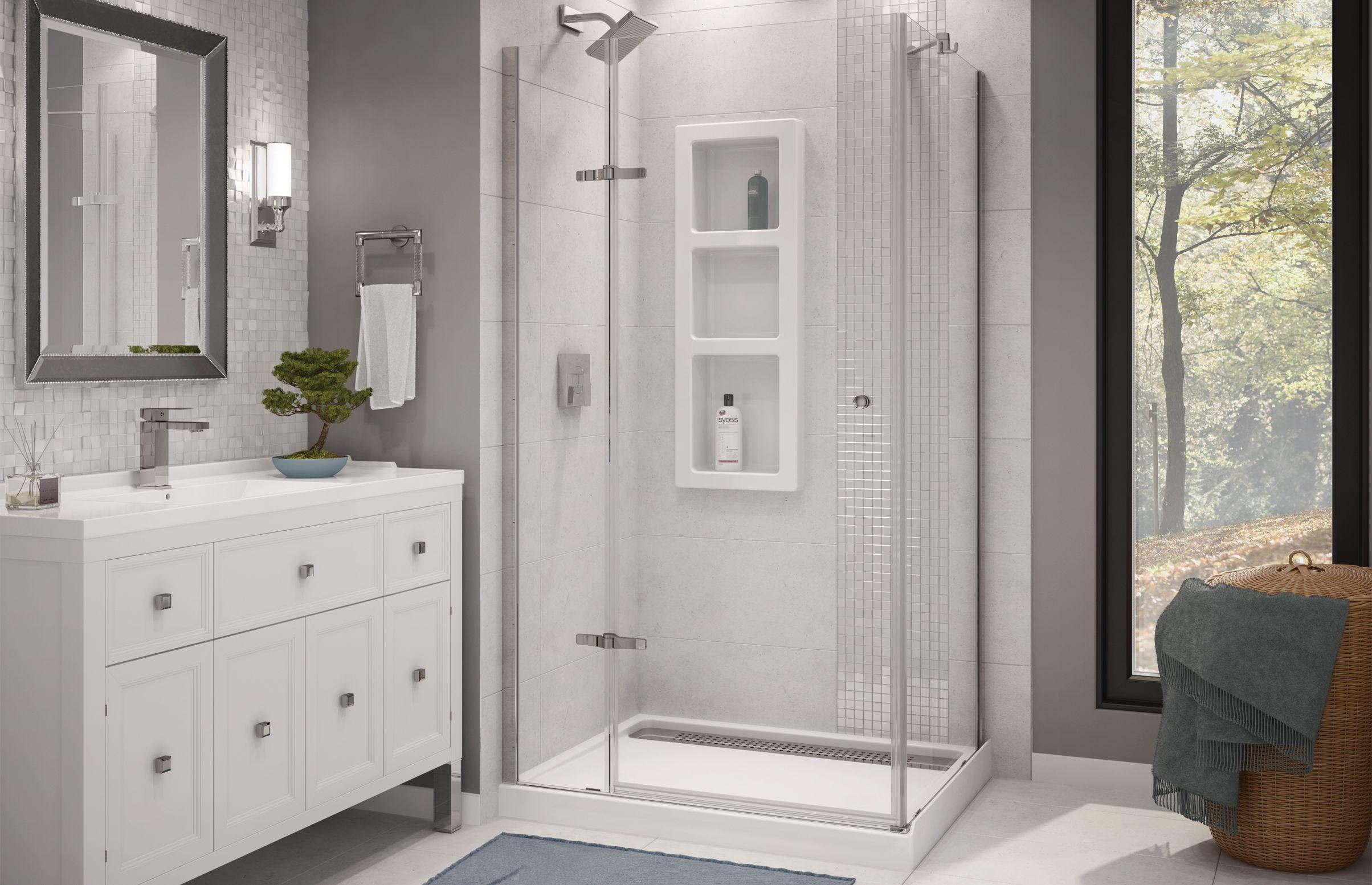Athena In 2019 Living Spaces Corner Shower Kits Shower Kits Bathroom