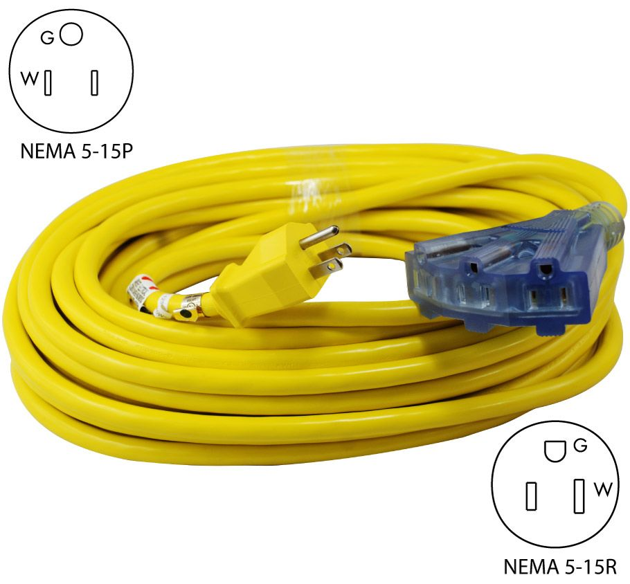 Conntek 20411 050 50ft Yellow Multi Outlet Outdoor Extension Cord