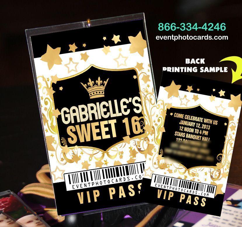 royal blue damask birthday vip pass invitations sweet   gold, party invitations