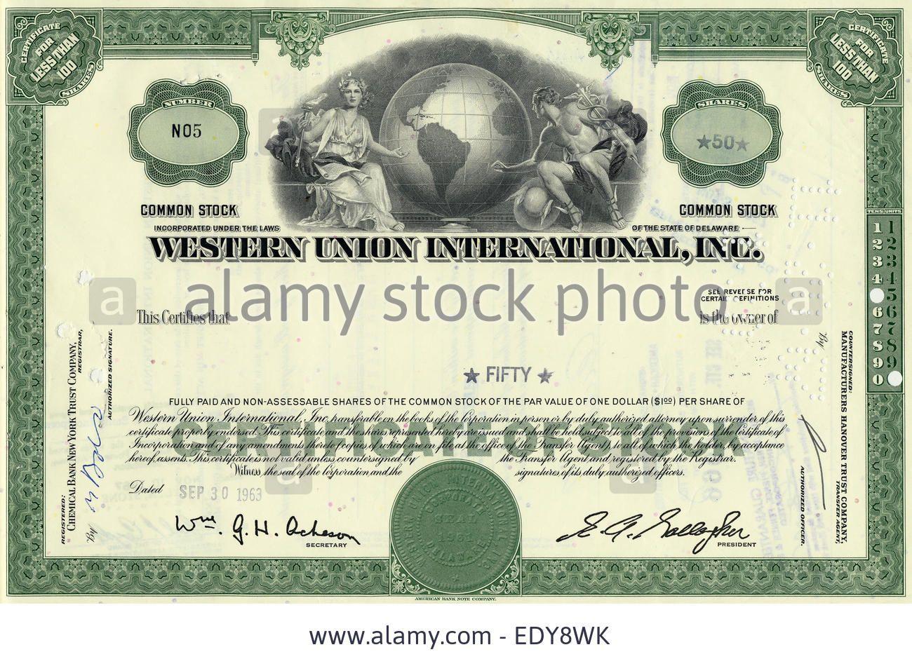 Stock Certificate Western Union International Inc