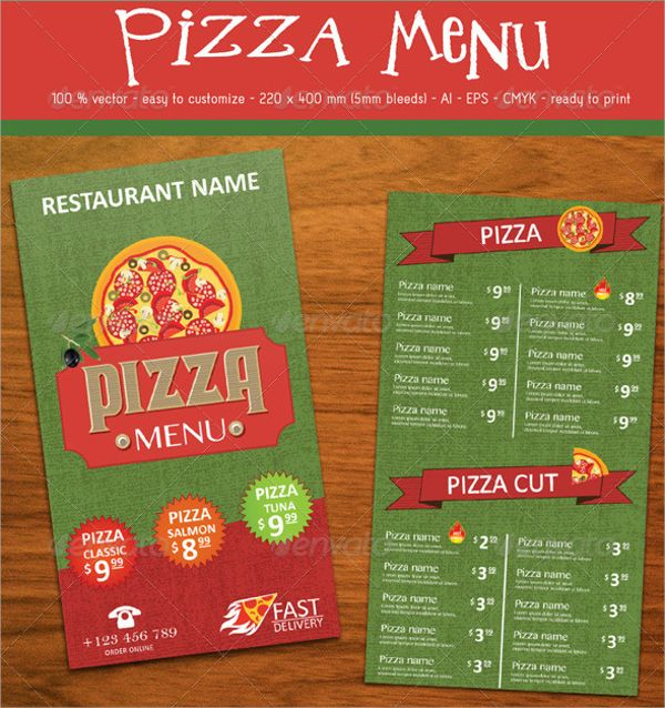 sample pizza menu template download documents psd vector templates free example format
