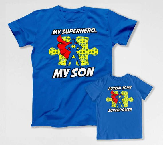 a7e3b8ee3 Father Son Matching Shirts Puzzle Piece Autism Superhero T Shirt Dad And  Son Gift My Superhero