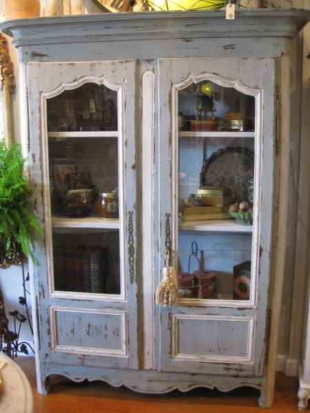 Caught My Fancy Painted French Glass Door Bibliotheque