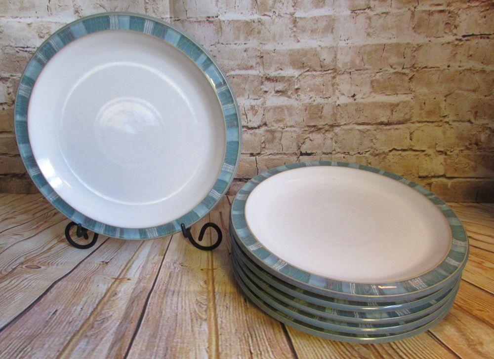 Denby Azure Coast Set of Six 8 7/8\  Pottery Salad Plates Blue Border Light Use #Denby & Denby Azure Coast Set of Six 8 7/8\