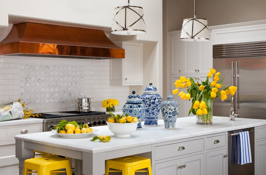 copper hood yellow blue grant k gibson interior design tradhome yellow kitchen decor on kitchen interior yellow and white id=42942