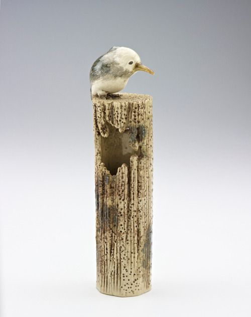Vase in form of kingfisher on post. Mid-19th century, Kyoto, Japan. Freer Gallery of Art and Arthur M. Sackler Gallery