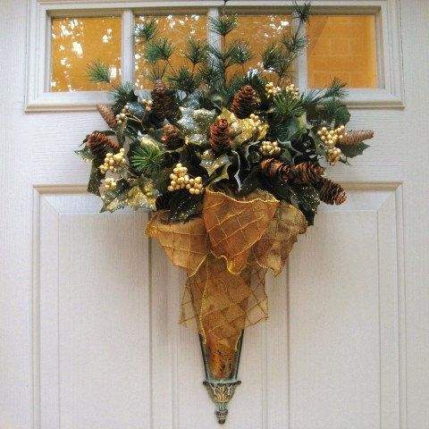 A gorgeous Christmas door decoration with 2 types of ...
