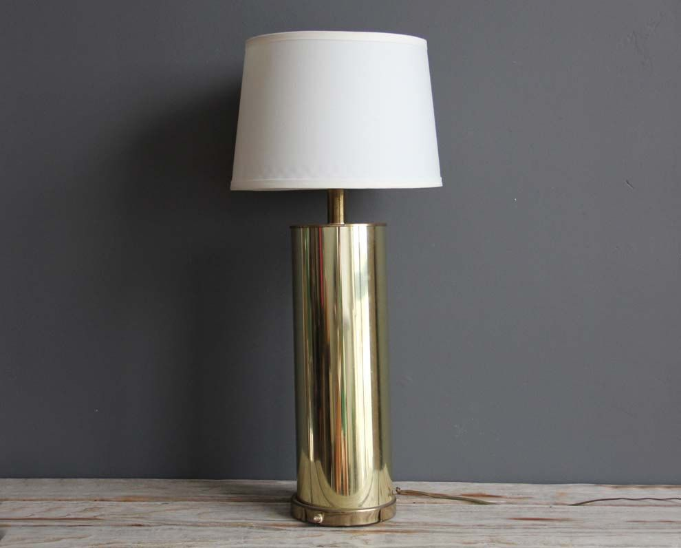 Tall Cylinder Glam Modern Gold Table Lamp Etsy Modern Gold Table Lamps Tall Table Lamps Gold Table Lamp
