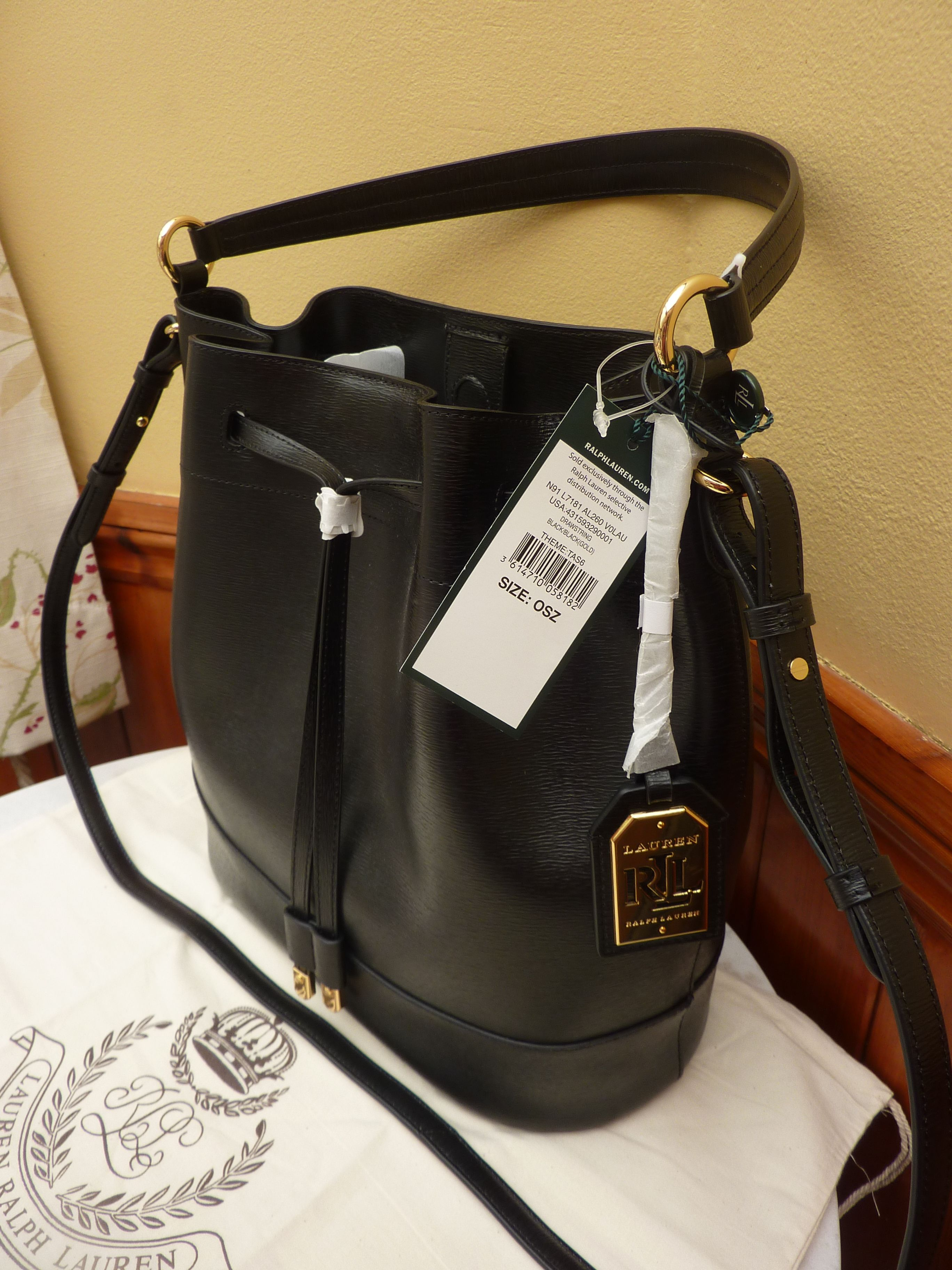 Genuine Ralph Lauren Crawley Black Leather Drawstring Bag Dustbag 149 99 Including Free Shipping Bagsdesigner