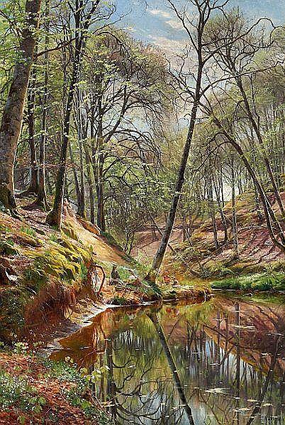 Peder Mønsted: Children on a picnic in the woods. - by Bruun Rasmussen