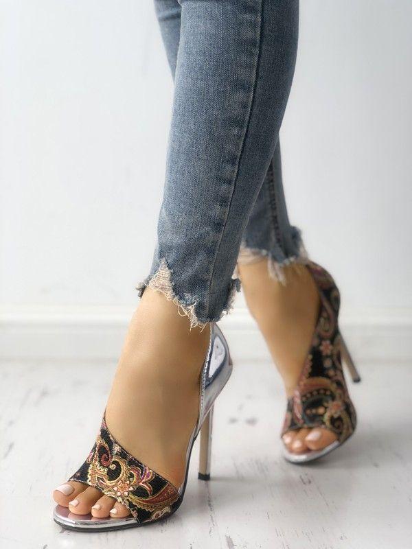 0fd660a6957 Tribal Print Peep Toe Thin Heeled Sandals