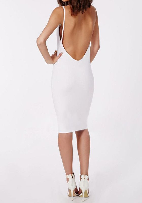 3f6a763ba57e4 White Backless Slip Dress - Slightly Stretch White Backless Slip Dress