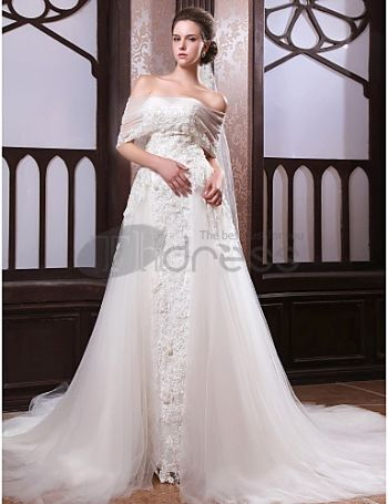 A-line Cathedral Train Satin Tulle Wedding Dress