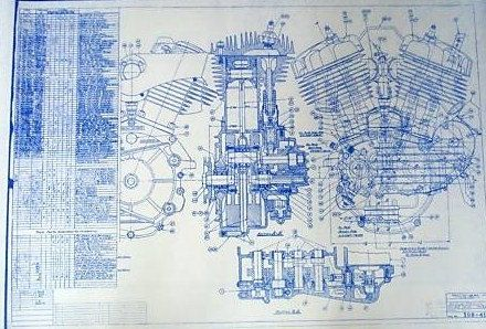 Harley Davidson 45ci Engine Blueprint by BlueprintPlace on Etsy