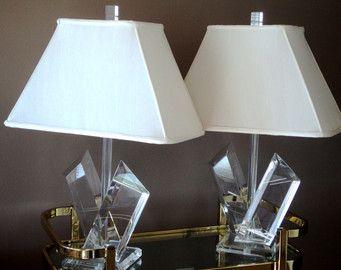 Superb Van Teal Sculptural Lucite Lamps