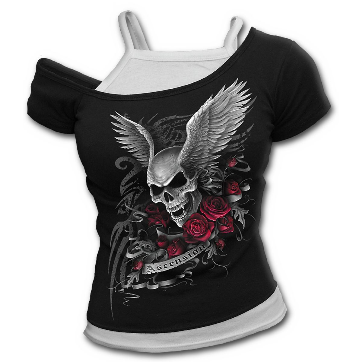 SPIRAL DIRECT Ladies Black Gothic GOTH NIGHTS Skull Top Lace Bat All Sizes