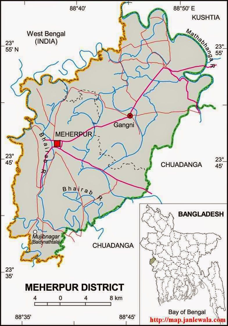 Meherpur Zila Map Khulna Division Bangladesh Maps Of - Map of khulna city