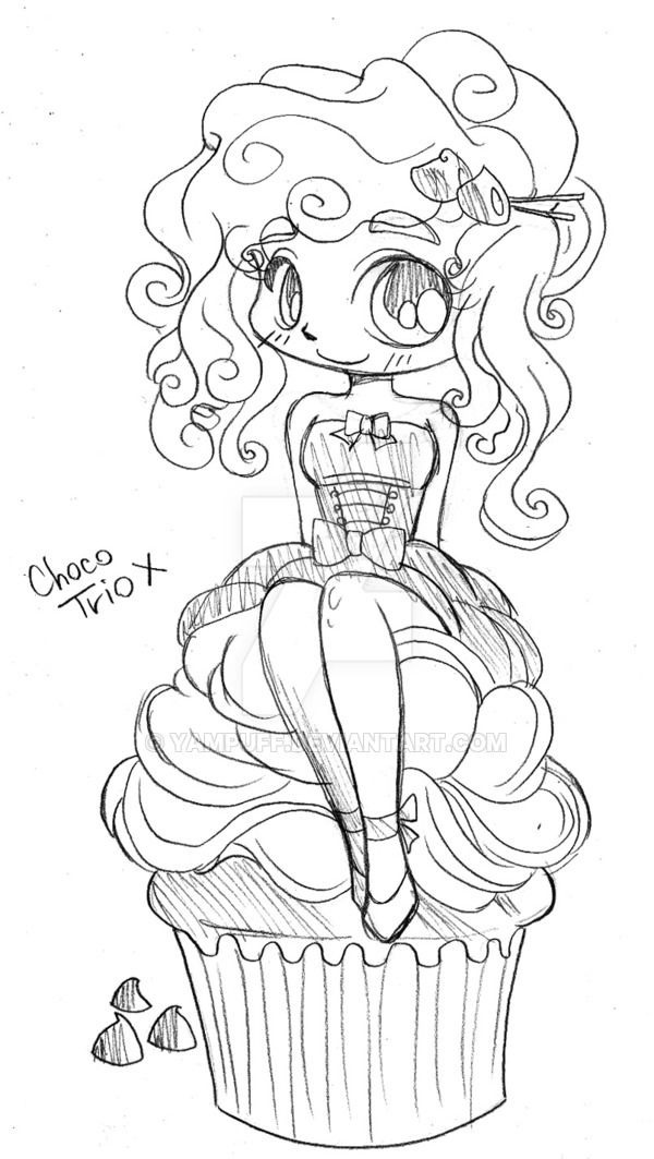 Choco Trio Cupcake Girl by YamPuff on DeviantArt | Cosas que me ...