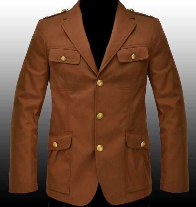 NEW HUGO BOSS Mens Brown Military Style Blazer Sport Coat ...