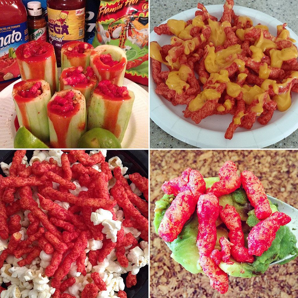 Different ways to eat hot cheetos con chamoy food