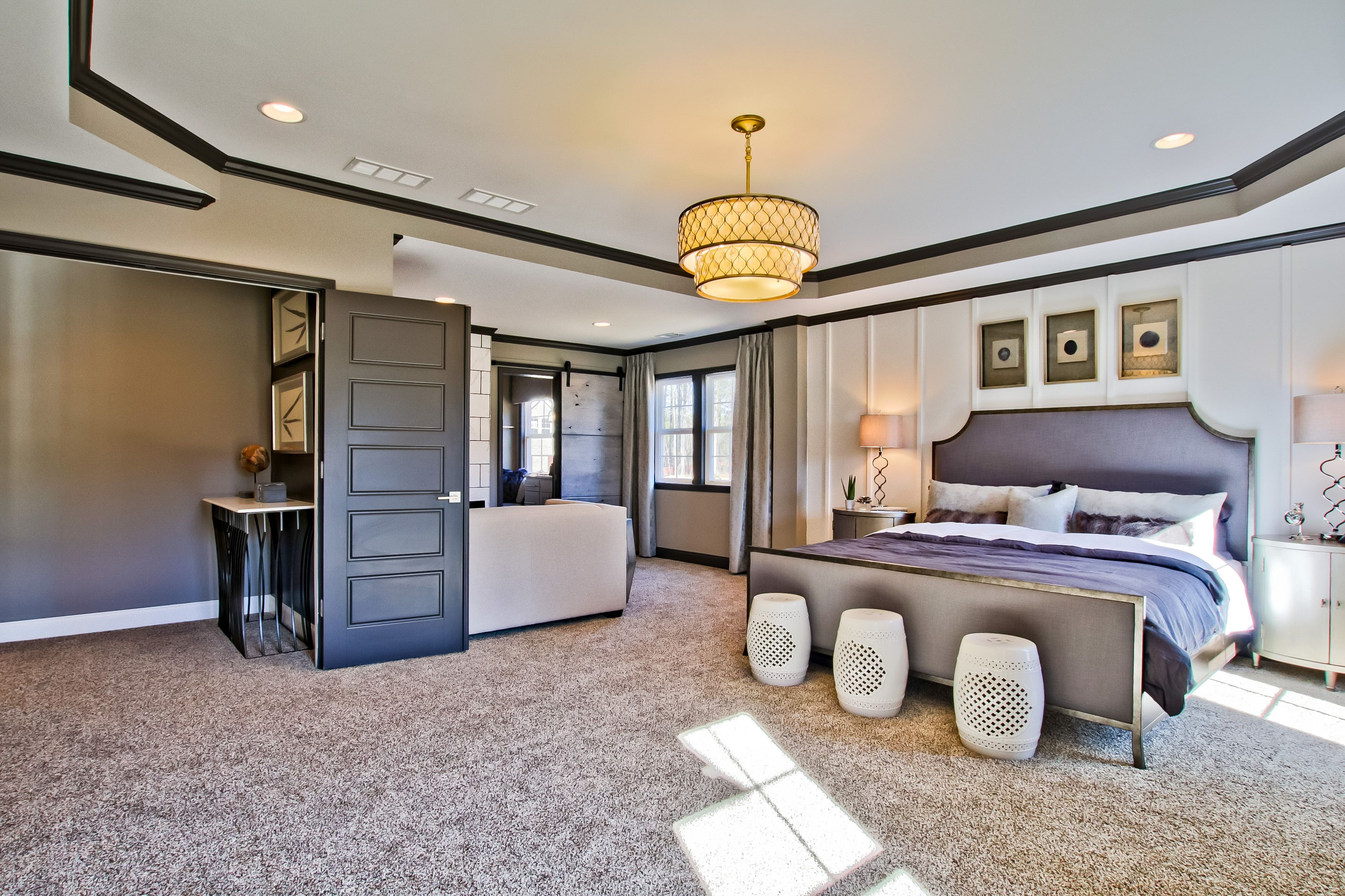 Enjoy This Large Master Bedroom With Trey Ceilings A Sitting Area Sliding Barn Door And Attached Bathroom In Your New Home S New Homes Home Bedroom Layouts