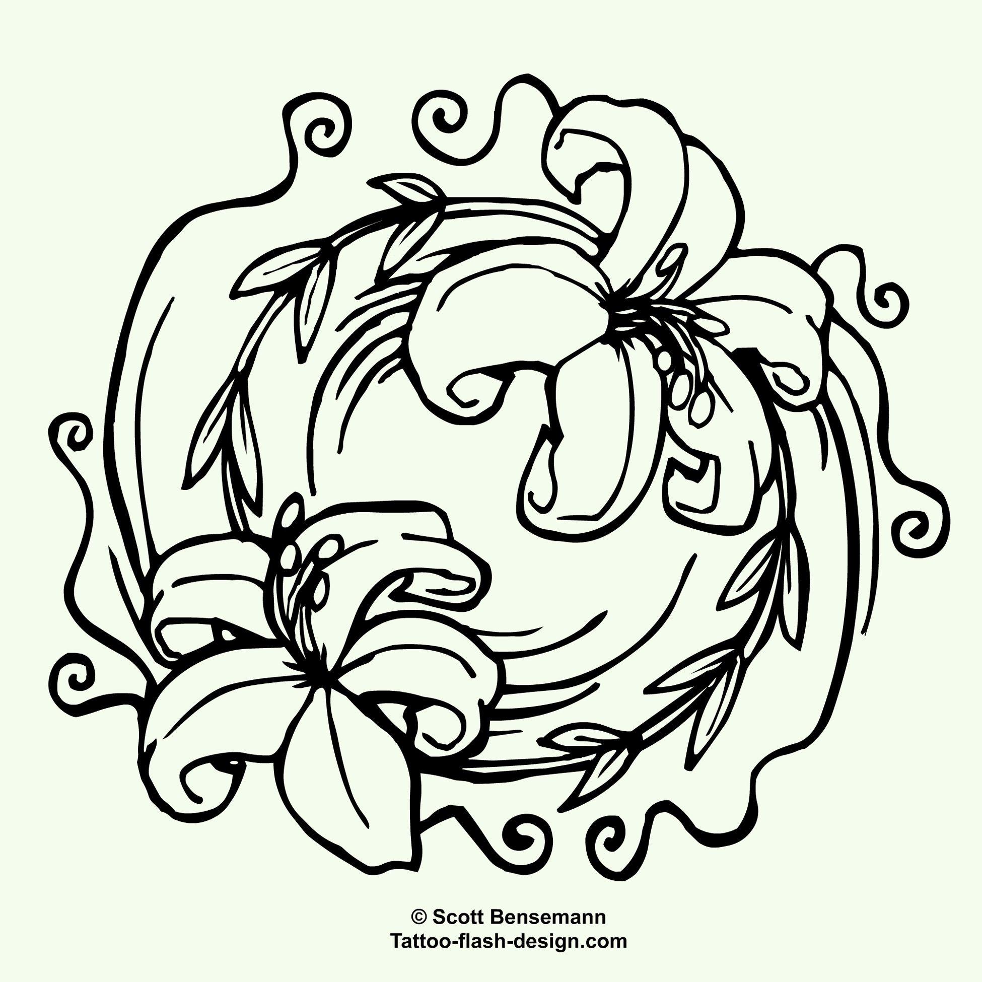 Lily Flower Pair Stencil Patterns Pinterest Stenciling Scalp