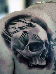 Tatuaże Męskie 3d Czaszka I Zegar Tattoos Tatuaże Męskie