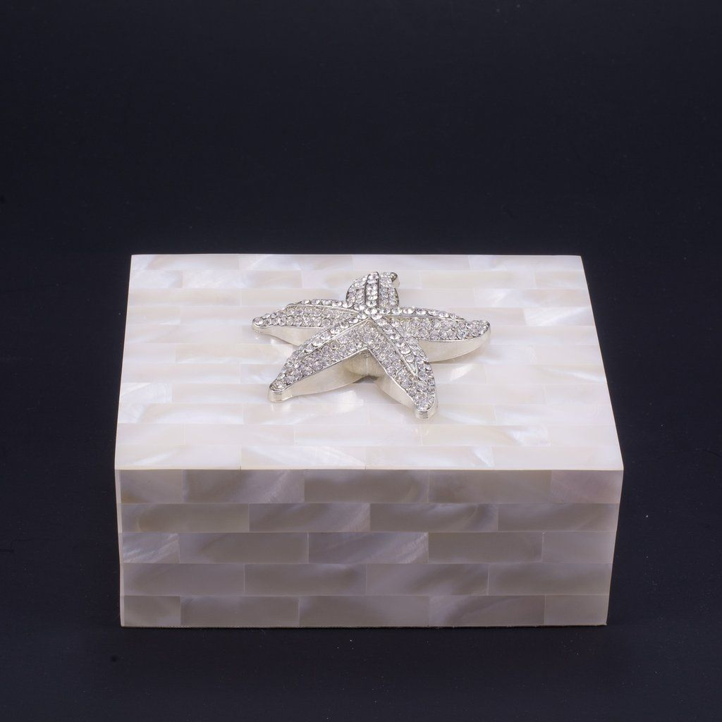 Mother of Pearl Keepsake Box Featuring Swarovski Crystals and