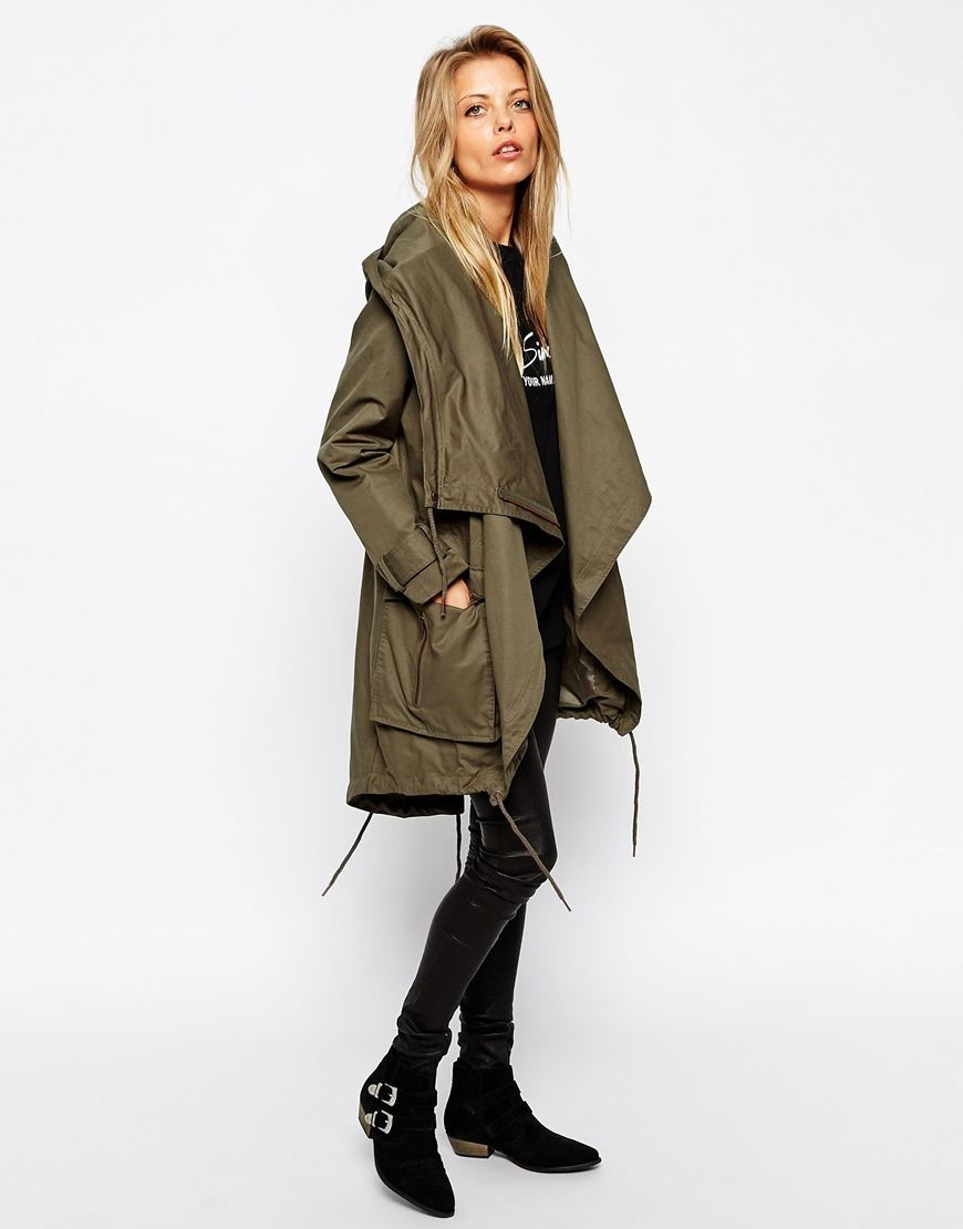 Image 4 of ASOS Parka with Waterfall Front