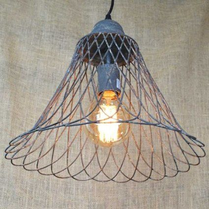 Vintage pendant light with rustic metal wire basket lamp shade 125 vintage pendant light with rustic metal wire basket lamp shade 125 in keyboard keysfo Choice Image