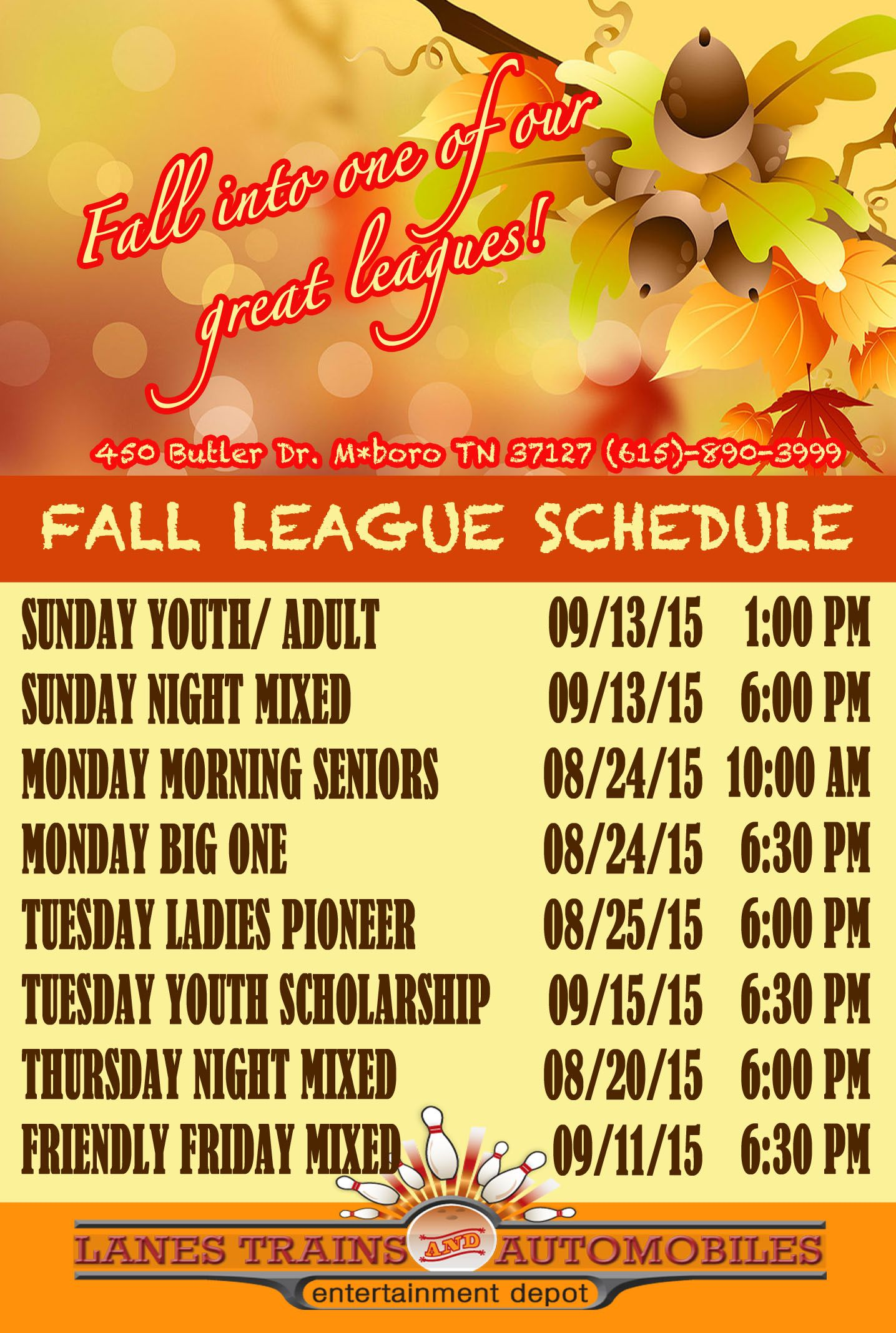 Bowling Leagues In Murfreesboro Tn Bowling League League Schedule League