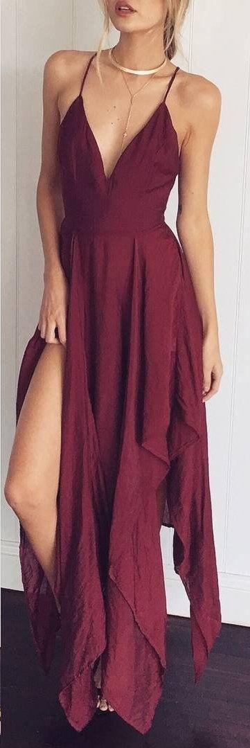 Burgundy Open Back Maxi Dress Source