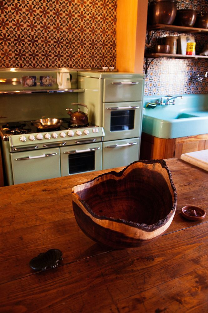 Vintage mint green stove & sink, combined with warm woods & beautiful tile <3 | The Selby: Sean MacPherson's kitchen