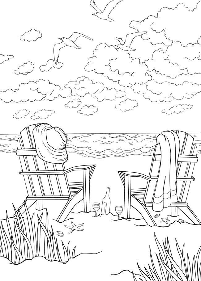 Seascape With Beach Chairs And Seagulls Beach Coloring Pages
