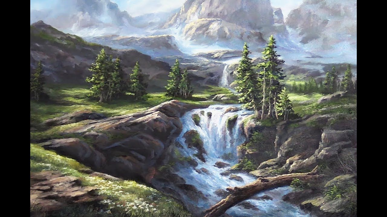 Have You Ever Been Out In Nature And Stumbled Across A Waterfall Watch Kevin Show You How To P Kevin Hill Paintings Oil Painting Landscape Landscape Paintings