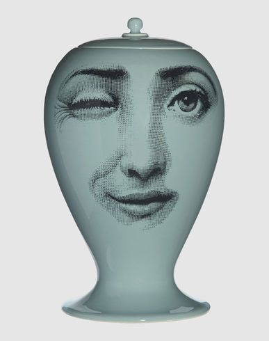 Fornasetti Vase Jar Winking On One Side And Both Eyes Open On The