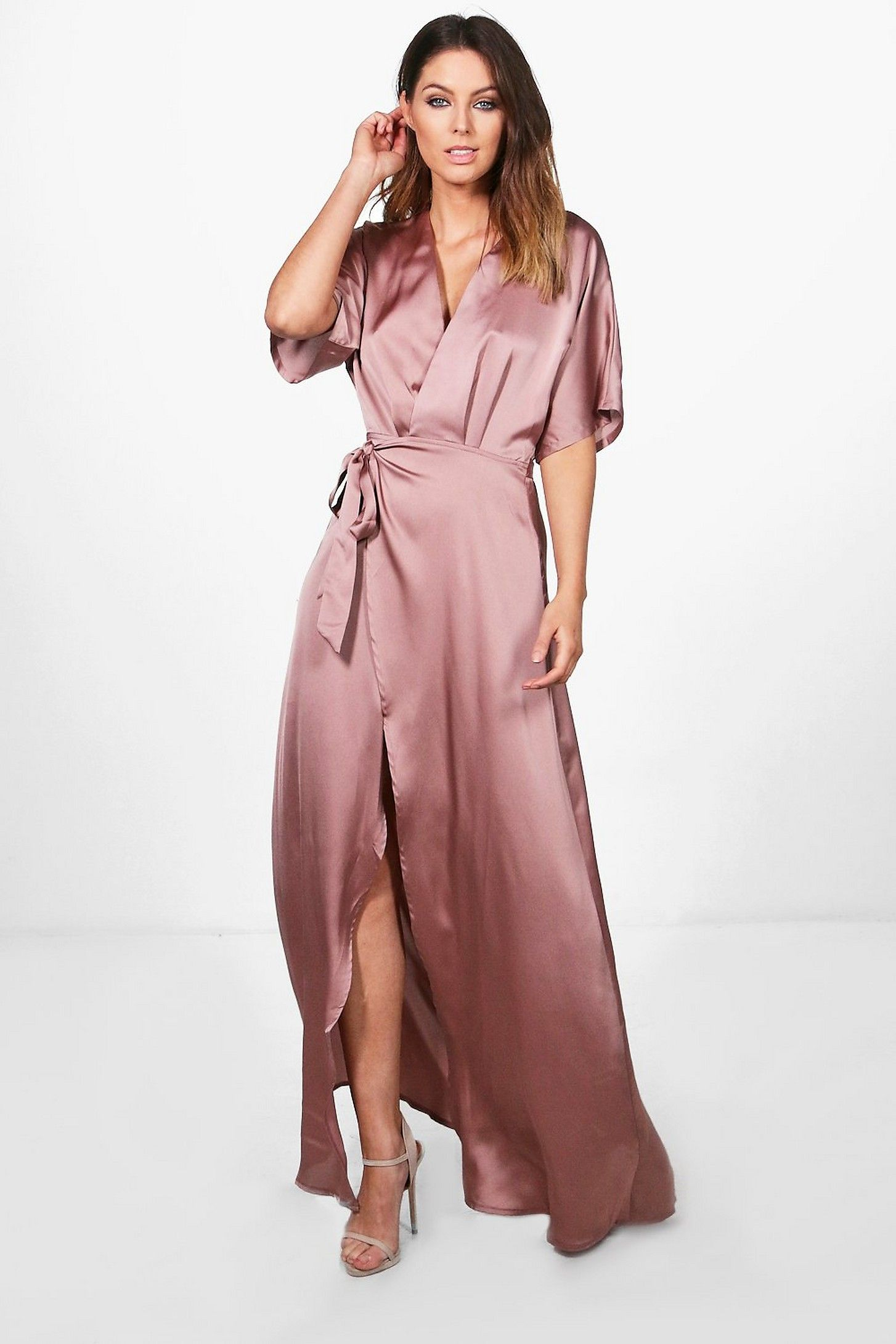 wholesale online 2019 authentic high quality materials Boutique Satin Kimono Maxi Dress | Boohoo | Special Occasion ...