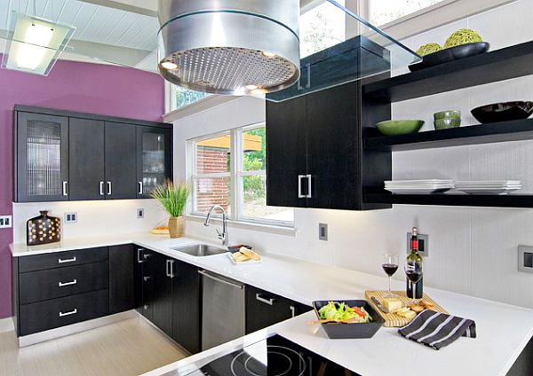 Modern kitchen design with Royal purple wall and black cabinets