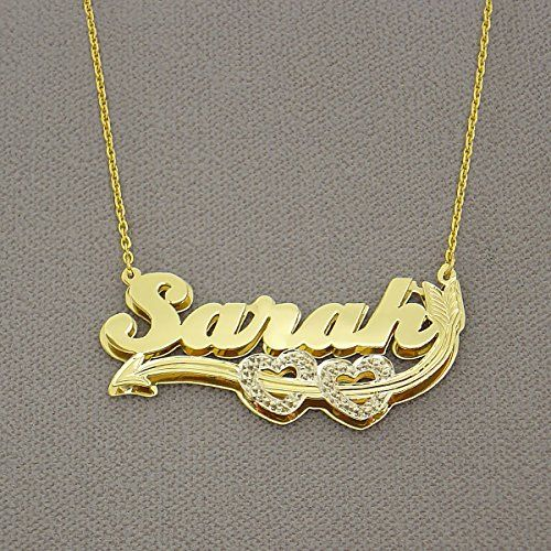 10K Gold 3D Personalized Name Pendant Cupid's Hearts Arrow Charm Jewelry