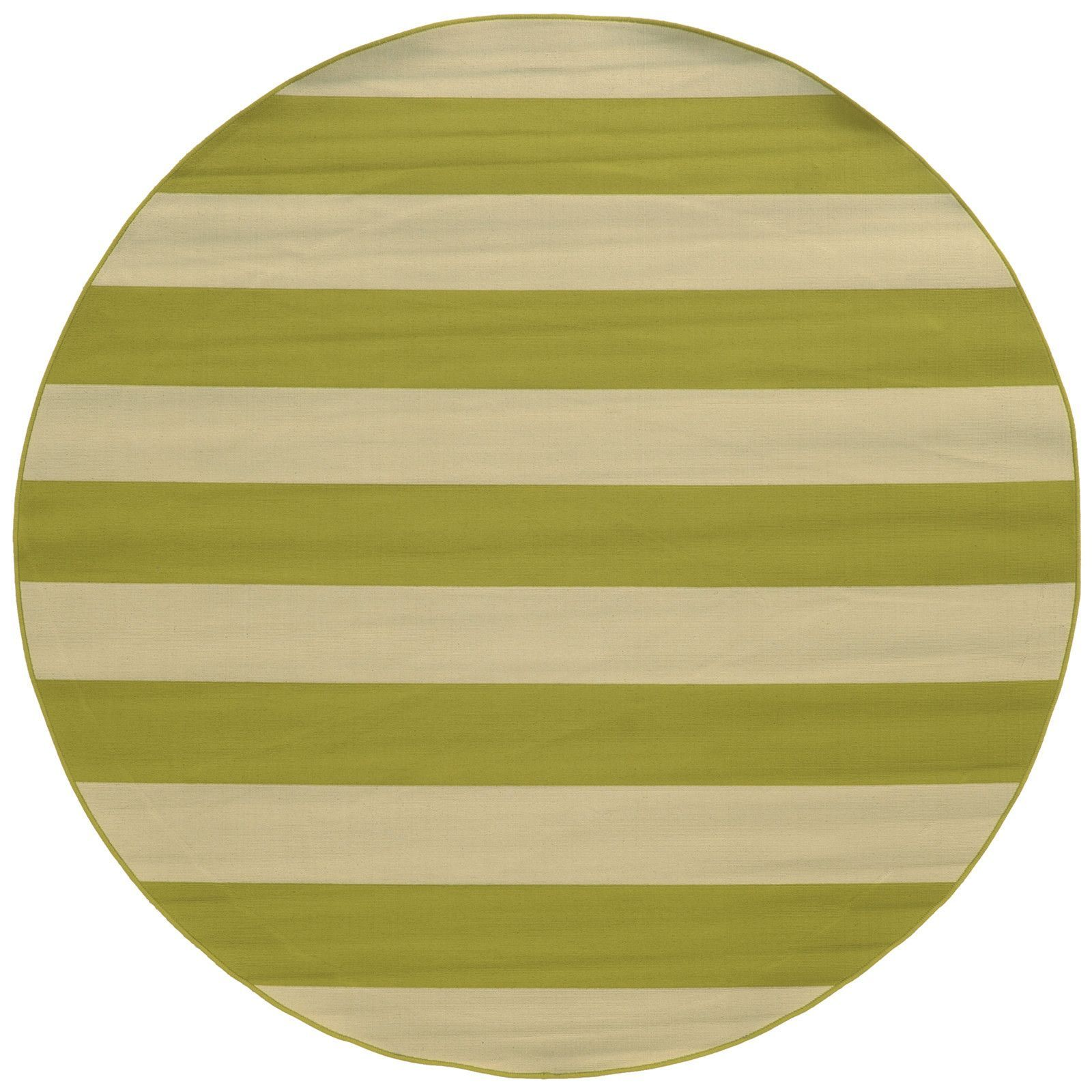 Cool Lime Green Rug: Oriental Weavers Round Lime Green & Ivory Outdoor Striped